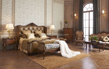 Exceptionnel French Luxury Baroque Style Bedroom Furniture/Classical Wood Carved Bedroom  Set/Genuine Leather Bedroom