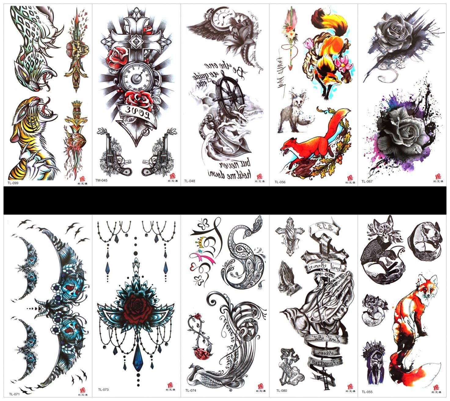 71804e955a9f5 Get Quotations · SPESTYLE 10pcs tattoo animal tiger tattoos waterproof and  non toxic real fake tattoos in 1 packages