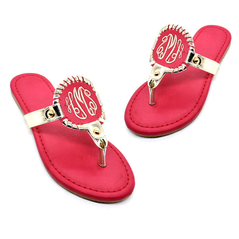 Demi 128 high quality monogrammed fashion leather slipper flat beach <strong>sandals</strong> ladies summer <strong>sandals</strong> lady <strong>sandal</strong>