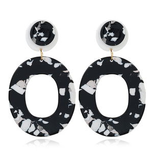 YWMT 2018 Trendy Christmas Gifts Cute Acrylic Round Camouflage Element Drop Earrings For Women With Short Hair