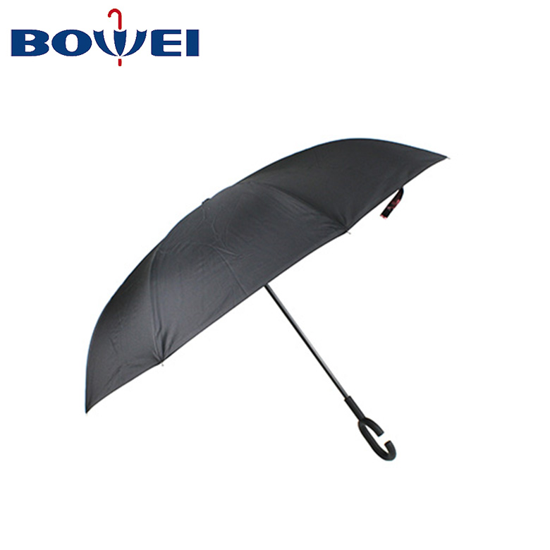 OEM design promotional light weight compact windproof cherry blossom sakura double layer c handle inverted umbrella