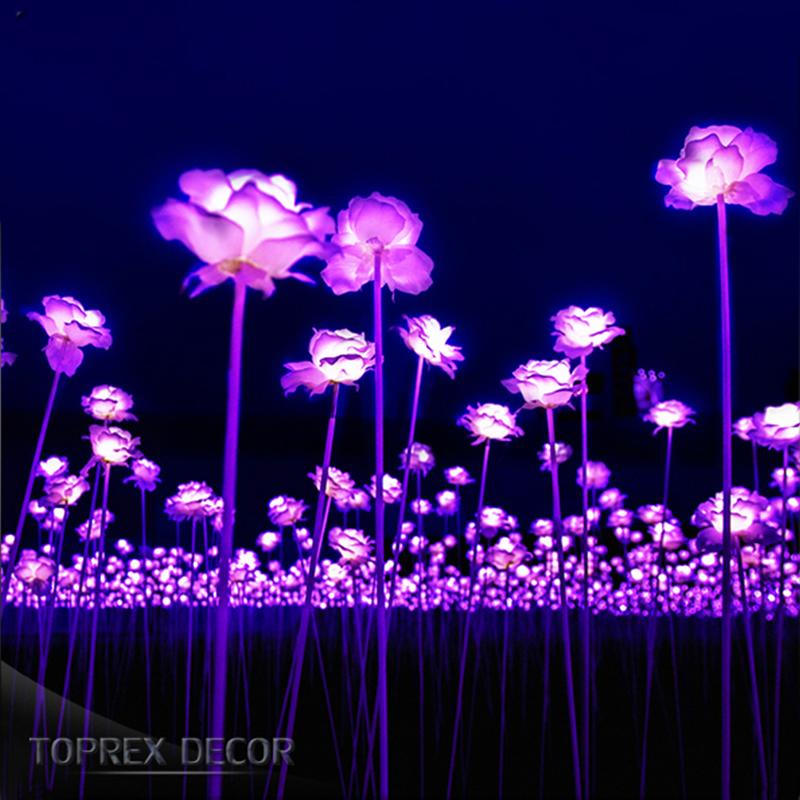 Toprex decor wedding decoration artificial wholesale fabric manufacturer led rose stand flower light