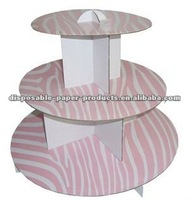 ZEBRA BIRTHDAY PARTY Pink Zebra 3 Tier Cardboard Cupcake Towers Tree Cup Cakes Display Holder Stand Wedding Baby Shower