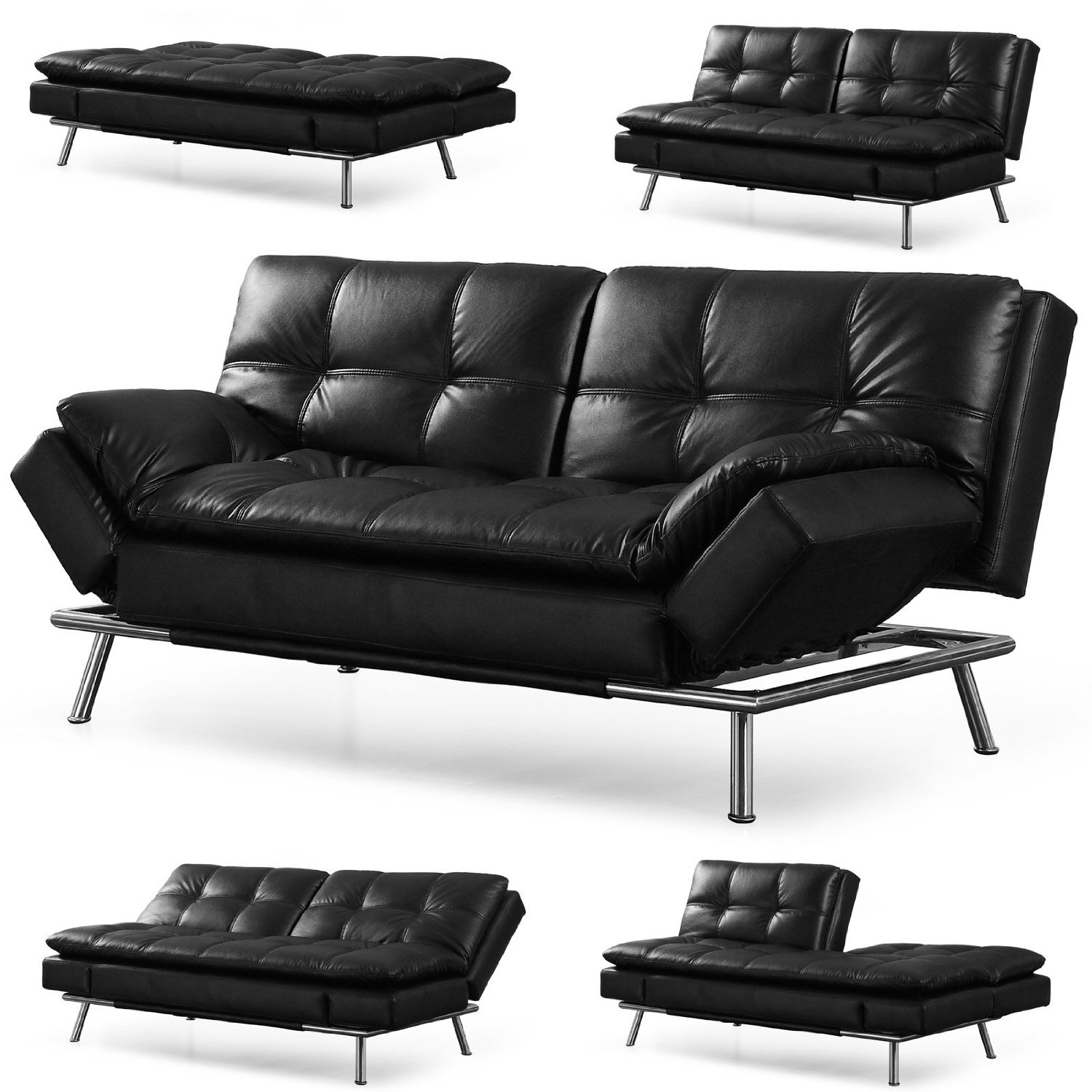 """Lifestyle Solutions CAMDMS3L10DB-T Matrix 79.5"""" Double Cushion 3 Seater Convertible Sofa with Faux Leather Upholstery in Dark"""