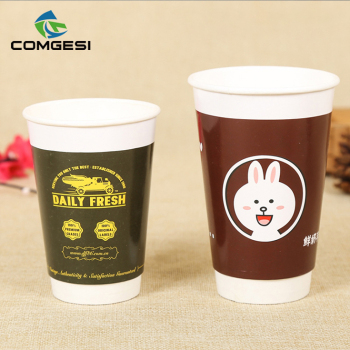 Hot cold drinks juice milk tea water paper cup _take away single double pe paper cup_ logo customized print wholesale suppliers