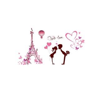 Xl7120 Paris 3d Couples Stickers Muraux De Dessin Animé Pvc Tour Eiffel Amour Coeur Stickers Muraux Pour Amour Couples Vivant Chambre Buy Amour à