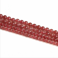 Natural 8mm strawberry quartz mix color red&green beads round stone for jewelry making women bracelet