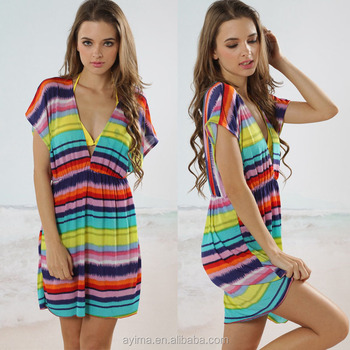 Hot Ing Colorful Stripe Beach Dress Design Hawaiian For Women