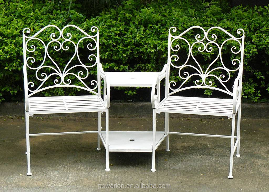 Garden Furniture Steel 2 seater metal garden bench - ornate cream heavy duty steel garden