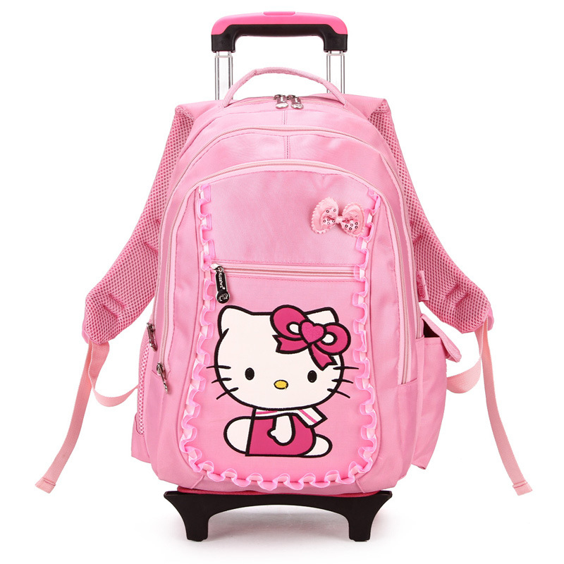16 Inch Hello Kitty Children Luggage Pink Polyester Trolley Case for Boys and Girls Suitcase with Wheels Kids Schoolbag of Trip
