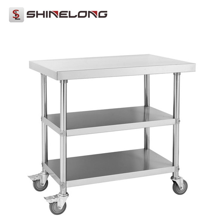 S006 Stainless Steel Restaurant Mobile Work Table With 2 Layers Under Shelves
