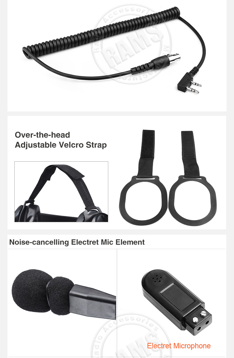 High Noise Cancelling  Heavy-Duty Behind the Head Headset for Two Way Radio