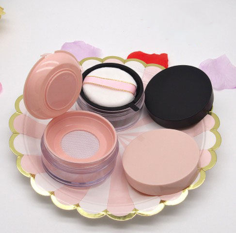 20g Pink plastic cosmetic round clear loose powder jar with sifter
