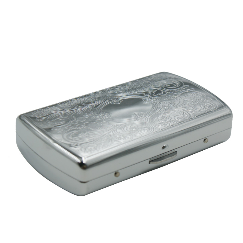 Metal  creative round edge stainless steel  Portable exquisite Embossing silver  smoking  case  herb  accessories factory price