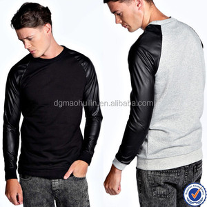 2015 hot sale crew neck men's hoodies factory design leather sleeve sweatshirt