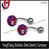 Hot selling stainless steel best friends fashion design magnetic navel belly ring