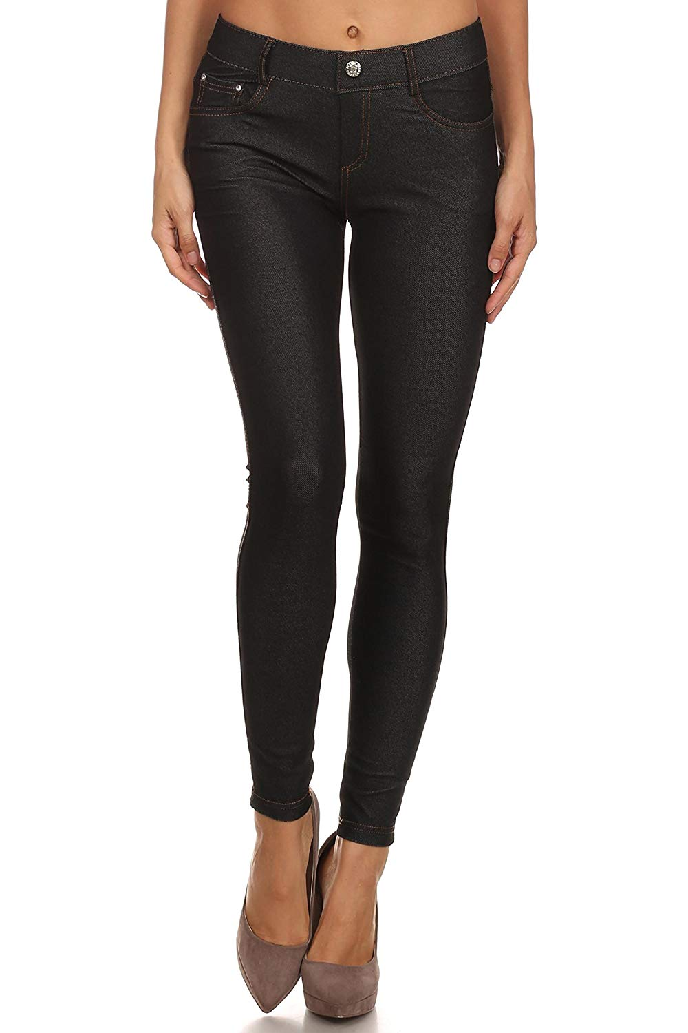 e75d0f92b53 Get Quotations · Simlu Long Jeggings For Women Skinny Stretch Fitted Pull  on Jeggings Pants