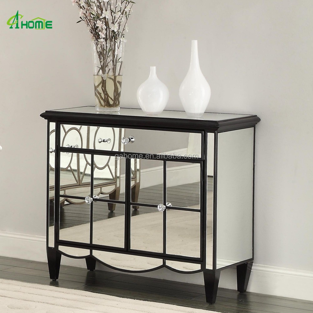 Black Frame Mirrored Sideboard Console Cabinet