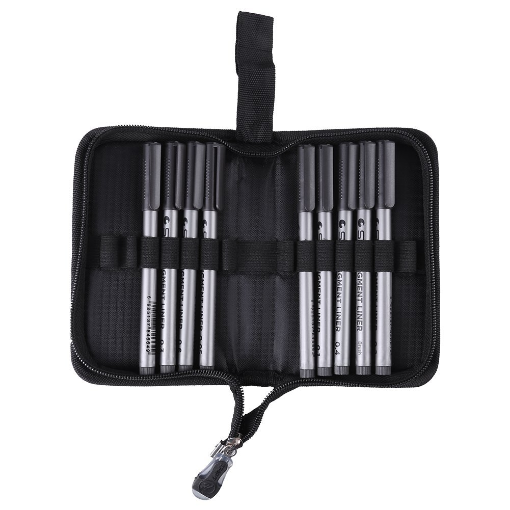 9pcs Black Pigment Liner Fine Line Pen Set Water Resistant Drawing Micro-Pen Sketching Hand-painted Pen 0.05/ 0.1/ 0.2/ 0.3/ 0.4 /0.5 /0.6 /0.8mm + Brush with Pen Bag