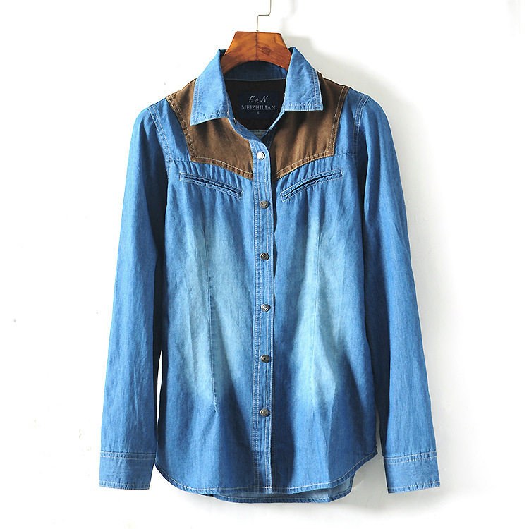bba0dbe6dc0 Get Quotations · 2015 women denim blouse ladies long sleeve shirts jeans  plus size summer top causal women blouses