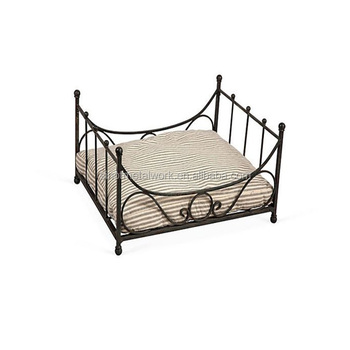 Antique Style Pet Accessories Black Wrought Iron Dog Bed With Ticking Cushion Luxury Metal Frame