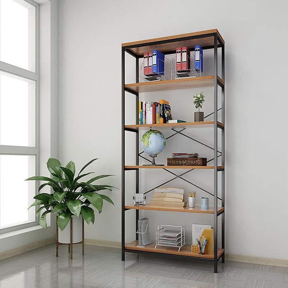 Amashion Industrial Bookshelf 5 Tier Wood Metal, Vintage Wood Bookcase Brown for Living Room, Office, Garden (5 Tier Brown)