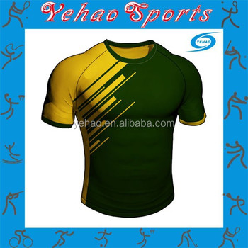 yellow and green color design rugby jersey with sublimated numbers buy rugby jerseys rugby jersey design sublimation rugby jersey product on