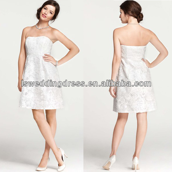WD1919 free shipping worldwide white lace sleeveless strapless empire waist cute casual knee length wedding dress