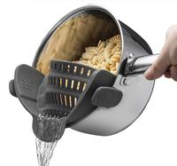 2019 New product Clip-on Heat Resistant Colander Pour Spout for Pasta Vegetable Noodles Pot bowl Pan