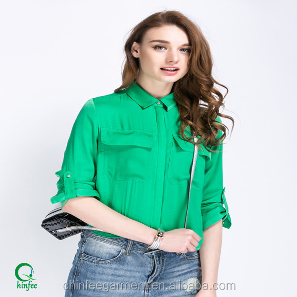 Fashion Satin Women Blouses Rolled-up Sleeves Shirts