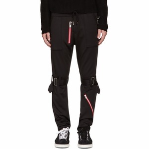 Cool Black Bondage Zip Lounge Pants with Detachable Cinch Strap at Knees