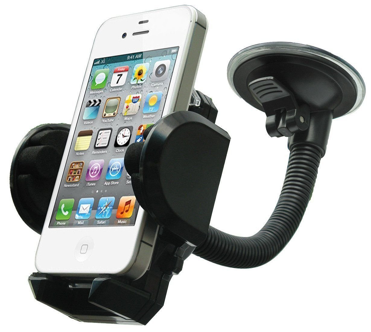 M.E.R.A. Cell Phone Holder, 360° Car Windshield Mount Holder Bracket Cradle For GPS iPhone X 8 7 7Plus 6 6Plus 5S 5 5C Samsung Galaxy S7 Edge 6S Smartphones, 360° Rotation Windshield Dashboard Cradle.