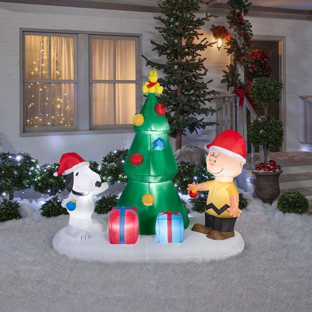 snoopy and charlie brown tree airblown christmas tree inflatable display outdoor