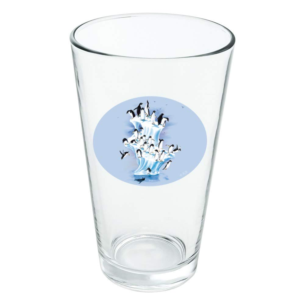 Emperor Penguin Iceberg Antarctic Novelty 16oz Pint Drinking Glass Tempered