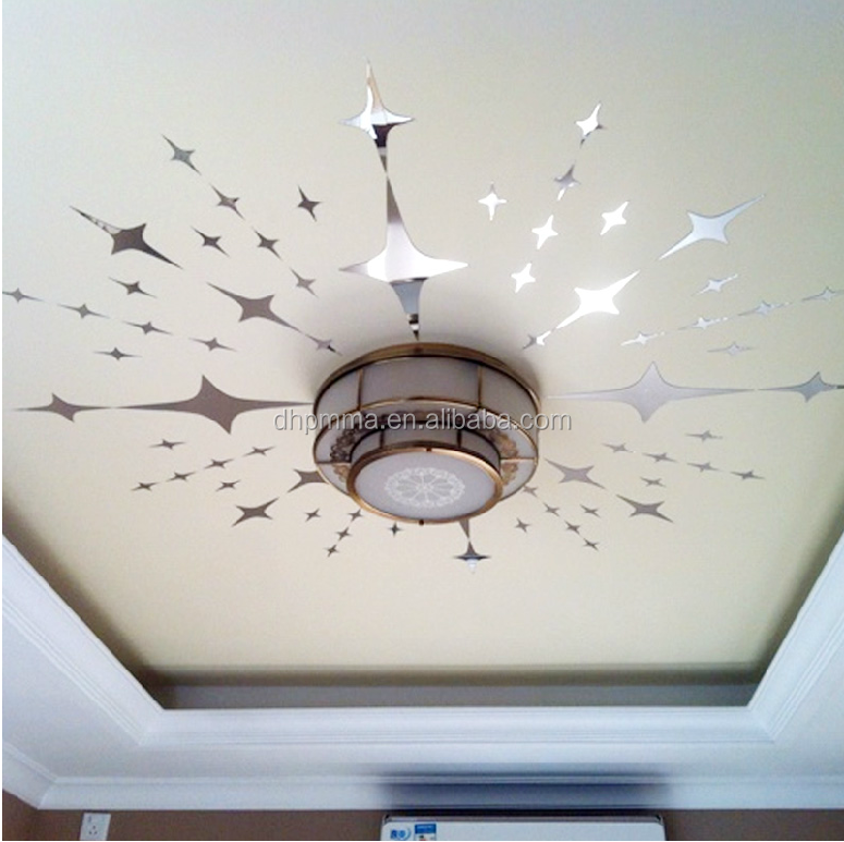 Star forme acrylique miroir sticker mural pour la d coration de plafond feuil - Stickers pour plafond ...