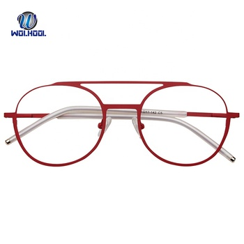New Design Stainless Fashion Metal Double Bridge Red Optical Eye Glasses Frame Eyeglasses Prescription Glasses for Dropshipping