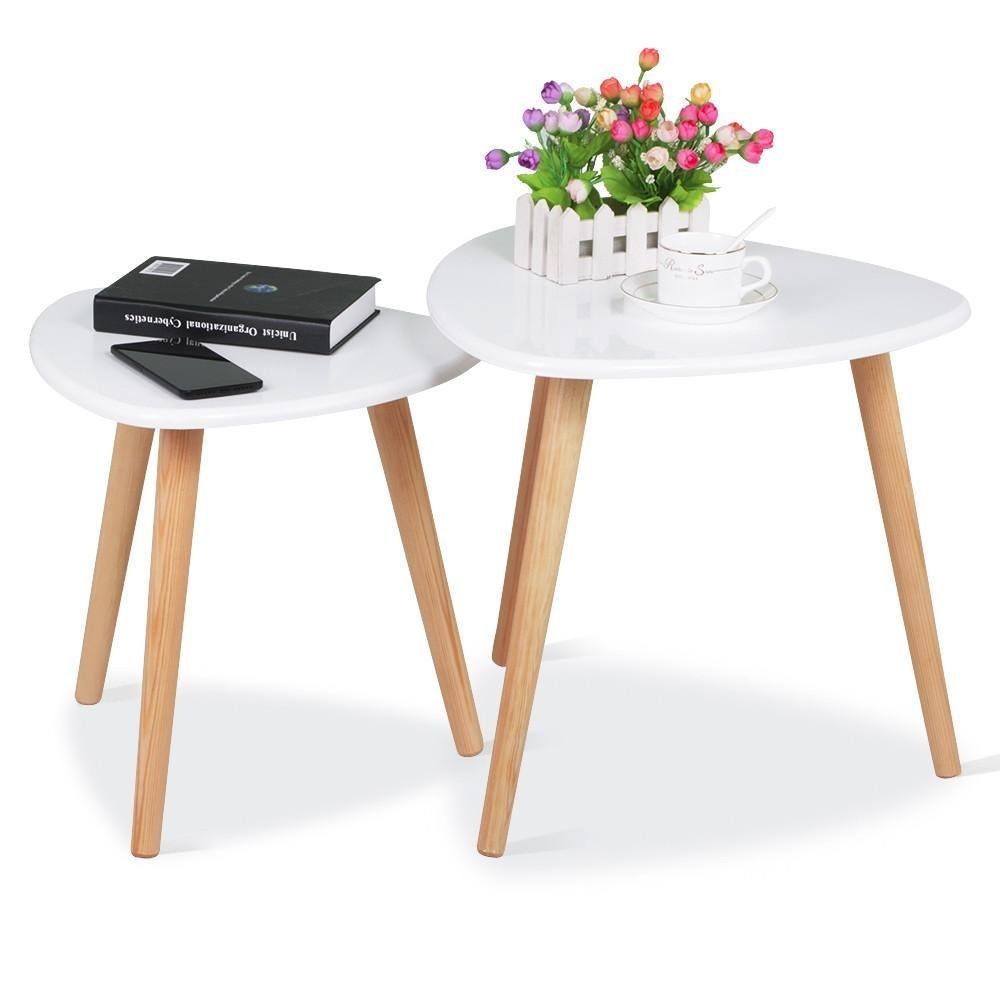 White Gloss Wood Nesting Tables Living Room Sofa Side End Table Set Of 2 Product On Alibaba