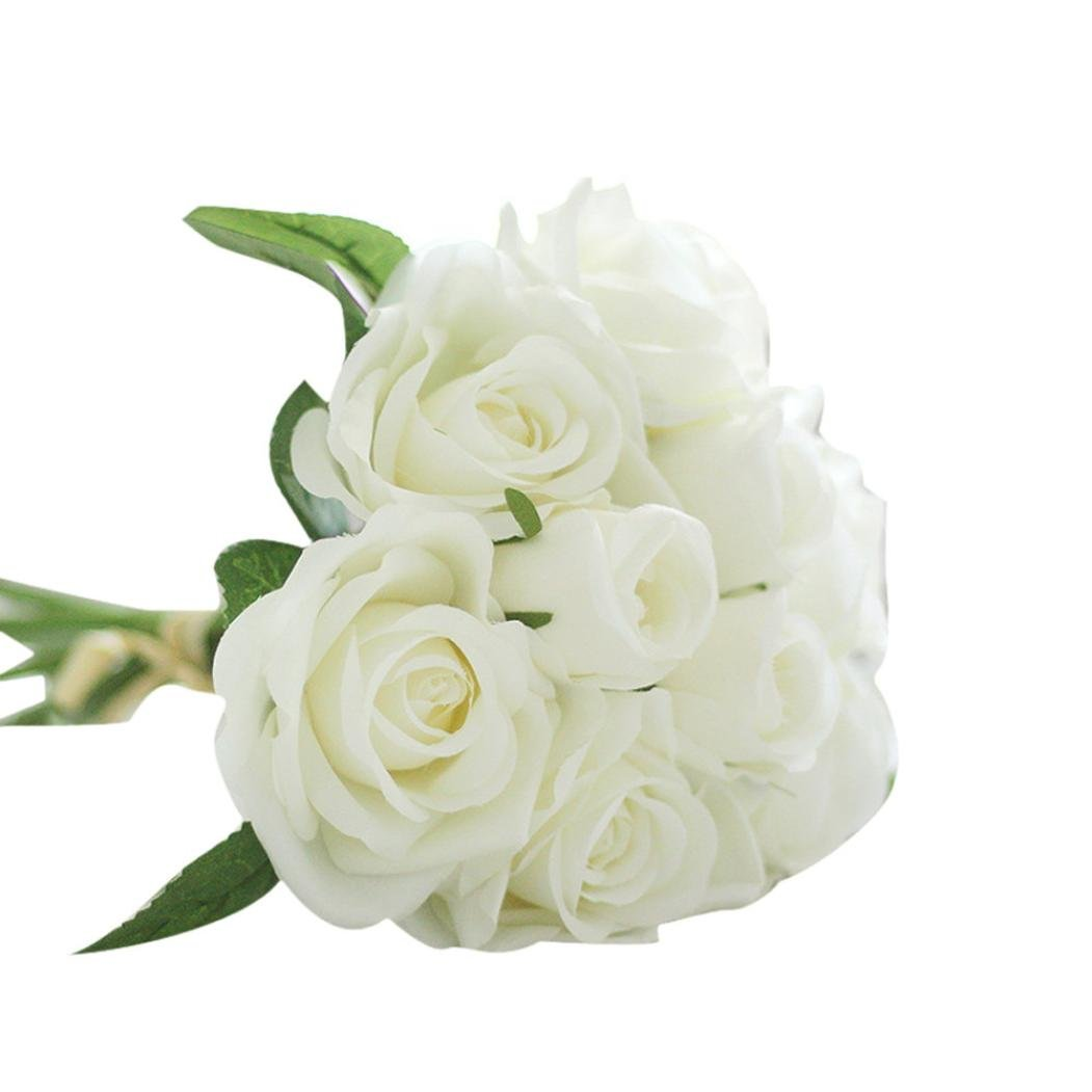 Cheap small white bouquet flowers find small white bouquet flowers get quotations artificial silk flowersumfun 9 heads artificial silk fake flowers leaf rose wedding floral decor mightylinksfo