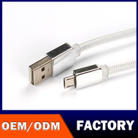 in stock stylish silver data wire strong Mobile charge cable