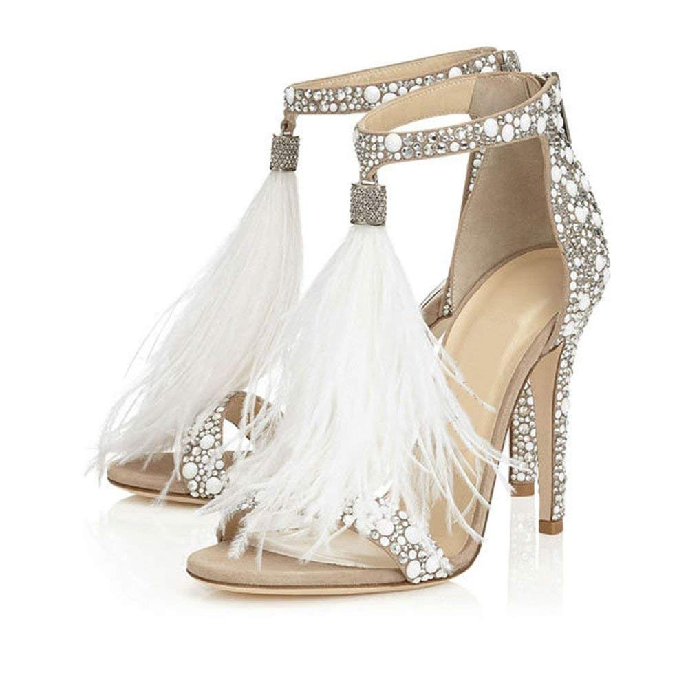 ea5777622 Hinyyrin Women s Tassels Rhinestone Heeled Sandals Wedding Dress White  Sandals Stiletto Heel Pearl