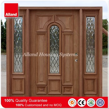 Mahogany Front Double Solid Wood Entry Door With 2 Sidelights