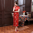 Chinese Traditional Dress Women's Silk Satin Cheongsam Qipao Summer Short Sleeve Long Dress