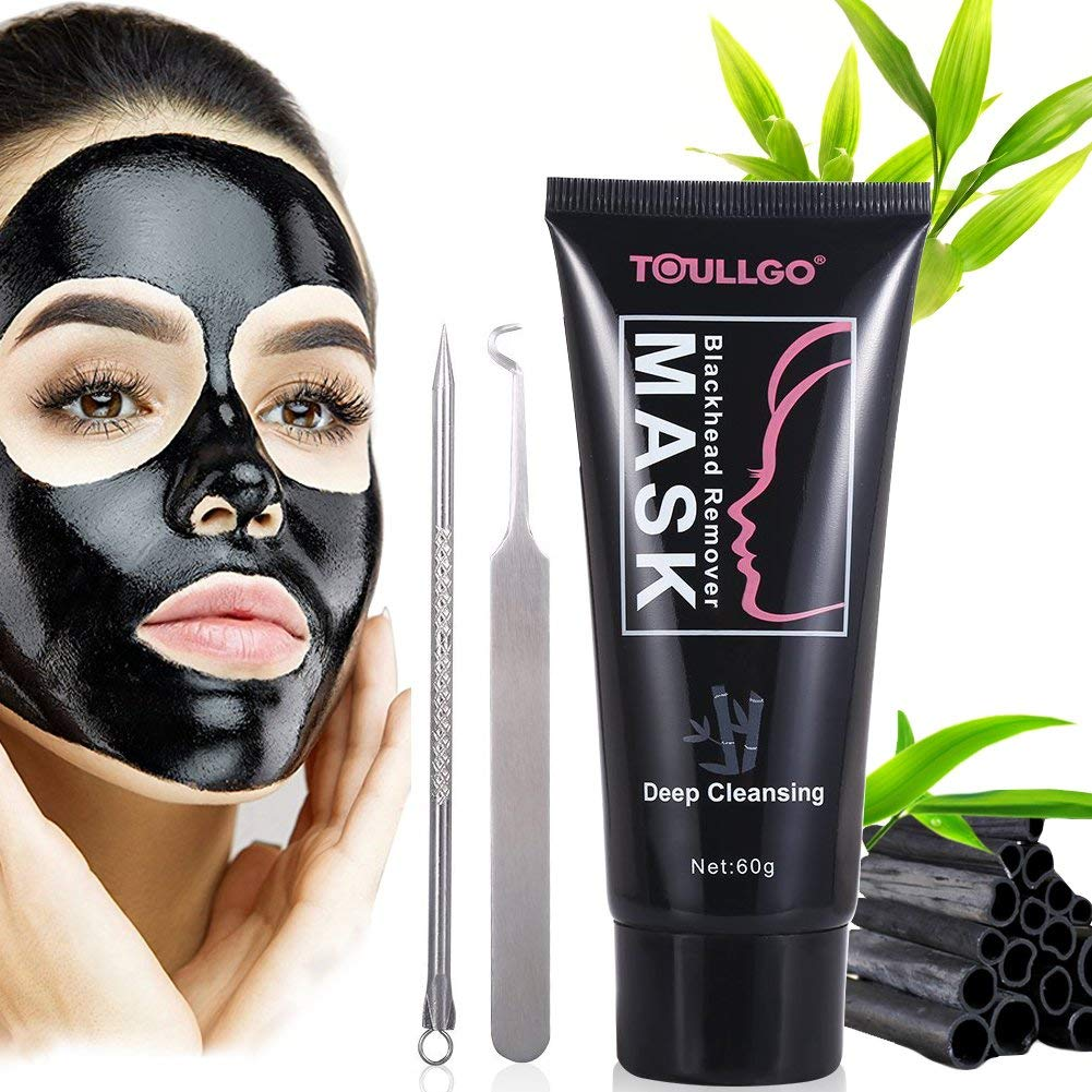 Peel Off Mask, Black Mask, Blackhead Remover Mask with Blackhead Remover Tool Kit, Blackhead Remover Deep Cleansing Mask for Acne and Blemishes, 60g
