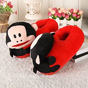 Cute cartoon Monkey Slippers Kid Slippers Autumn and winter thick home warm cotton slippers /child plush slippers /Anti-skid Home House Slippers Fashion Travel Couples gift Slippers