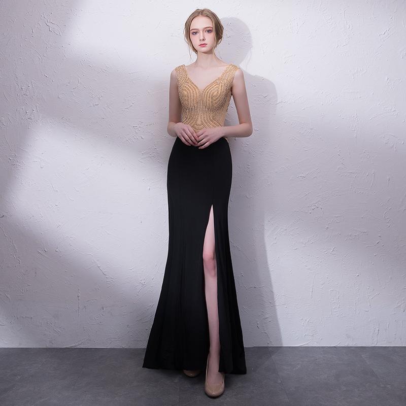 2d8005c38 Venta caliente elegante vestidos de noche de la sirena que rebordea  superior hendidura fábrica de China