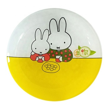 Cartoon Yellow Round Glass Plates Colored Glass Dishes