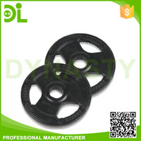 Wholesale Black Three Holes Rubber Coated Barbell Weight Plate