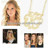 Hot Trend Celebrity Style Scroll Initial Letter ' K ' Monogram Pendant Necklace
