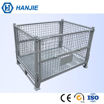 Industrial Stackable Steel Wire Basket Pallet Folding Warehouse Storage Cage