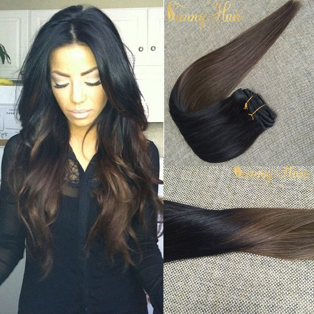 Sunny Remy Human Hair Extensions Clip in Full Head 24inch 9pcs 140g Ombre Natural Black to Brown Double Weft Clip in Human Hair Extensions
